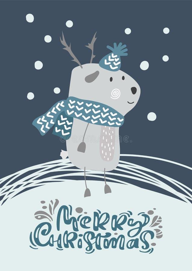 Weihnachtsskandinavische Vektorrotwild im Hut und im Schal mit Text Illustrationsentwurf froher Weihnachten Nettes bambi Tier stock abbildung