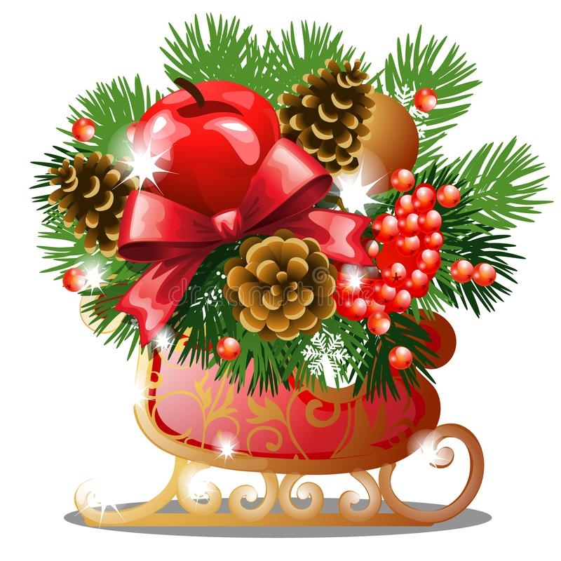 Weihnachtsskizze mit Dekor von goldenen Schlittschuhen mit den Tannenzweigen, rotem Bandbogen, Flitter, Schneeflocke und pinecone stock abbildung