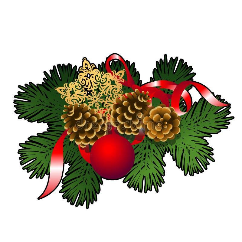 Weihnachtsskizze mit Dekor von Tannenzweigen mit roten dekorativen Glasbällen, Flitter, goldener Schneeflocke und pinecones vektor abbildung