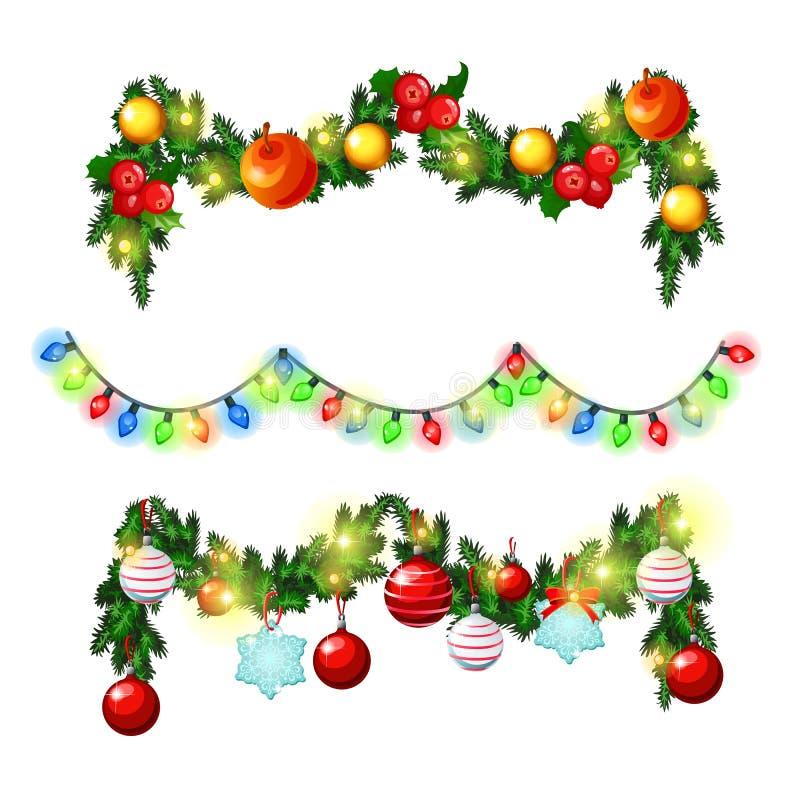 Weihnachtsskizze mit Dekorationen von Zweigen der Fichte, der Stechpalmenblätter und der Girlanden mit Bällen und Flitter Probe v stock abbildung