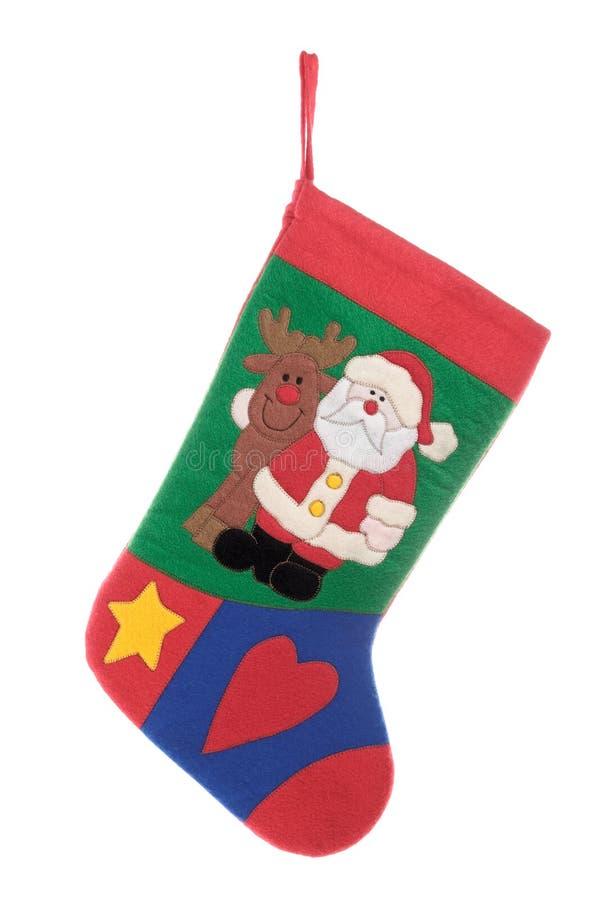 Weihnachtssocke getrennt auf weißem Hintergrund lizenzfreie stockfotos