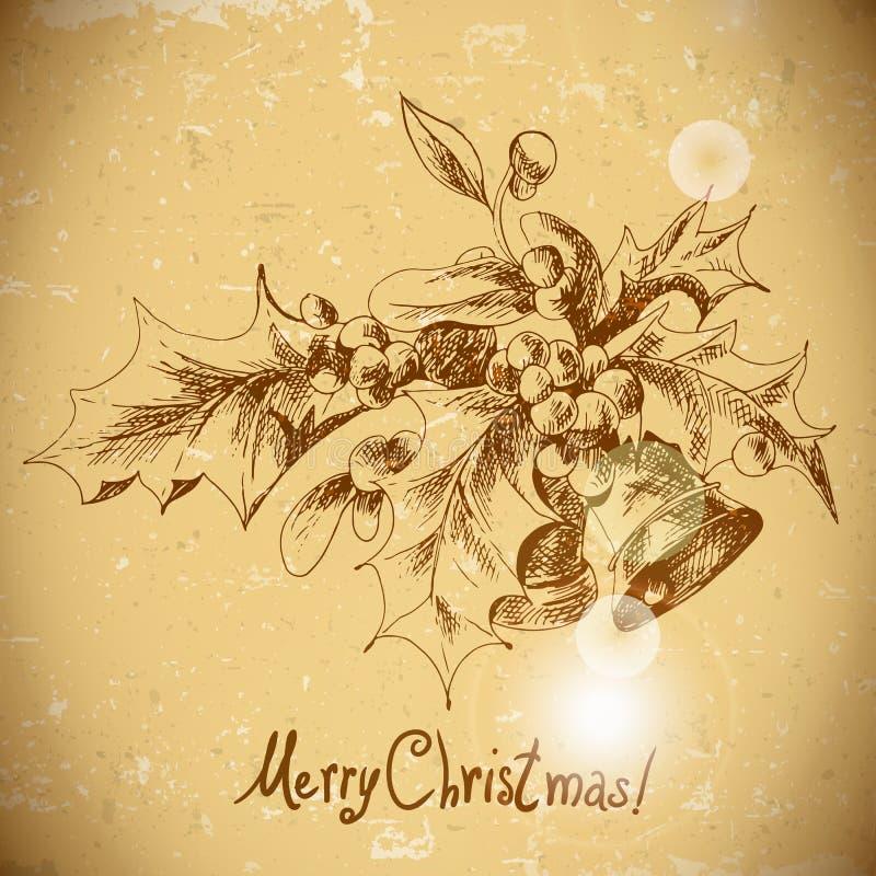Weihnachtsstechpalme und Glocke Weinlesehintergrund stock abbildung