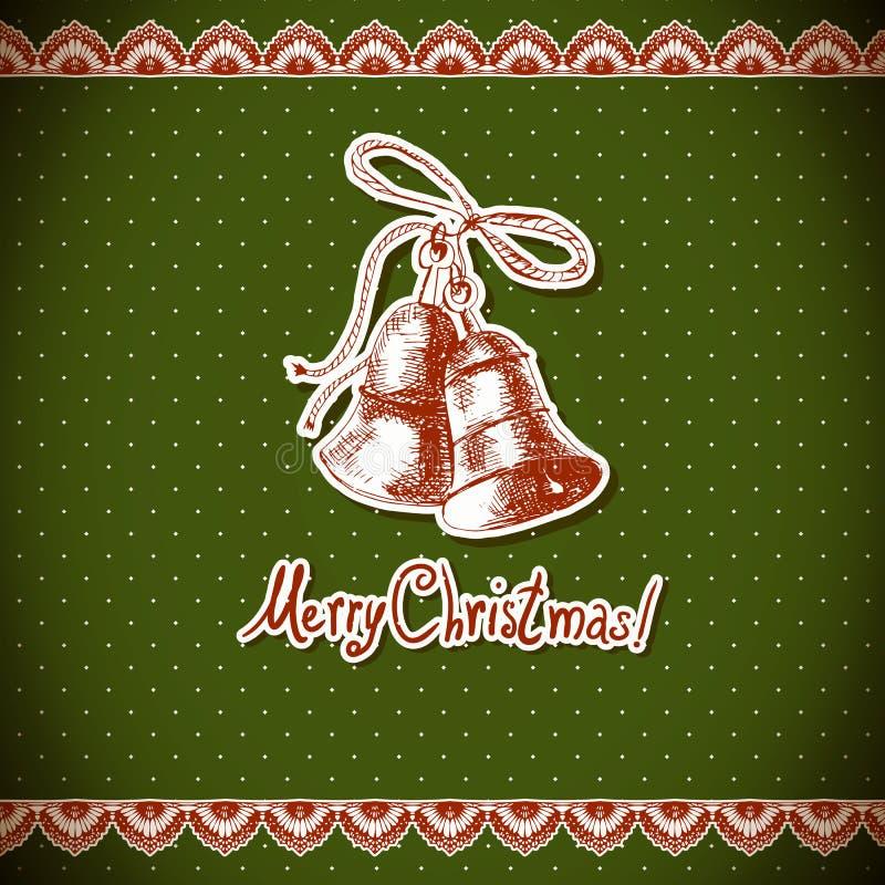 Weihnachtsstechpalme und -glocke. Weinlesehintergrund stock abbildung