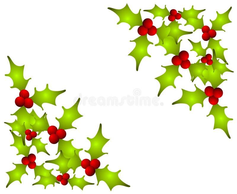 Weihnachtsstechpalme verlässt Ecken stock abbildung