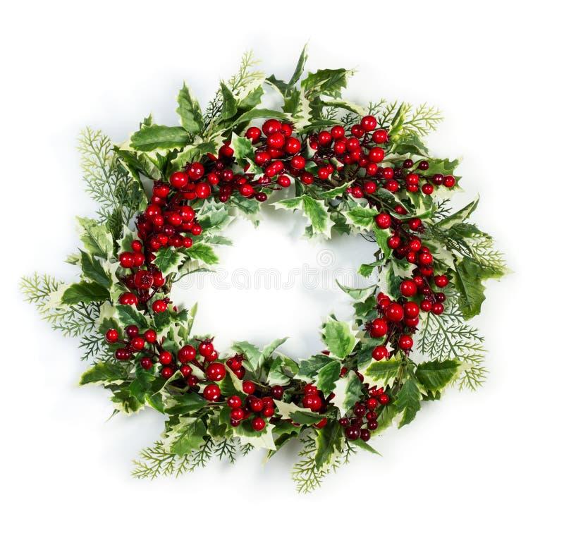Weihnachtsstechpalme Wreath lizenzfreie stockfotos