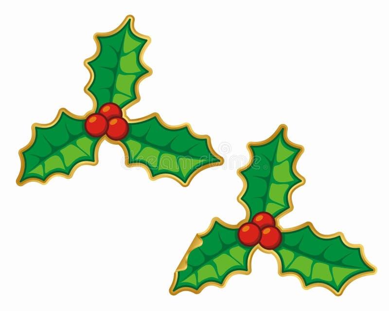Weihnachtsstechpalmeaufkleber lizenzfreie abbildung