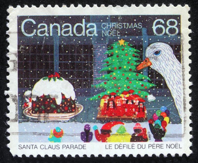 Weihnachtsstempel gedruckt in Kanada lizenzfreie stockbilder