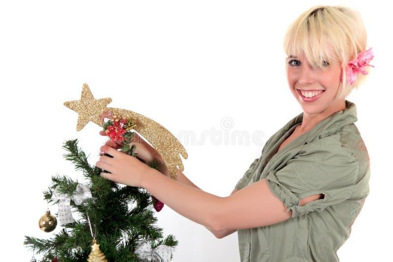 Weihnachtsstern. Attraktive junge Frau stockbilder