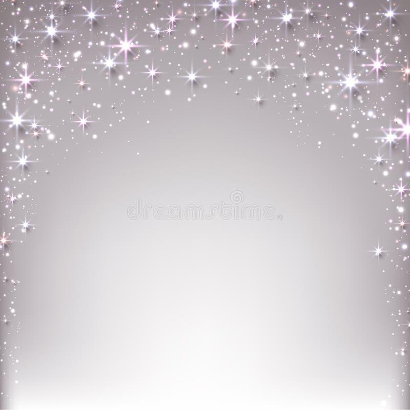 Weihnachtssternenklarer Hintergrund mit Scheinen. vektor abbildung