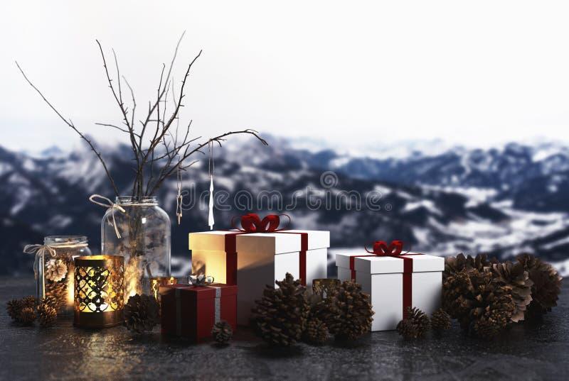 Weihnachtsstillleben auf einem Fensterbrett mit Alpen stock abbildung