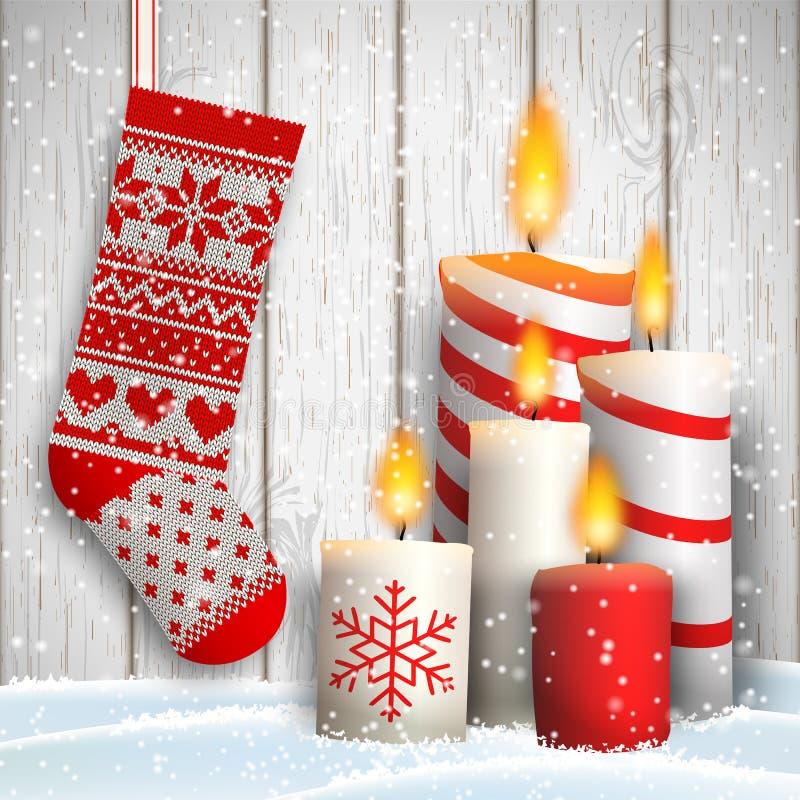 Weihnachtsstillleben mit fünf Kerzen und Strumpf lizenzfreie abbildung