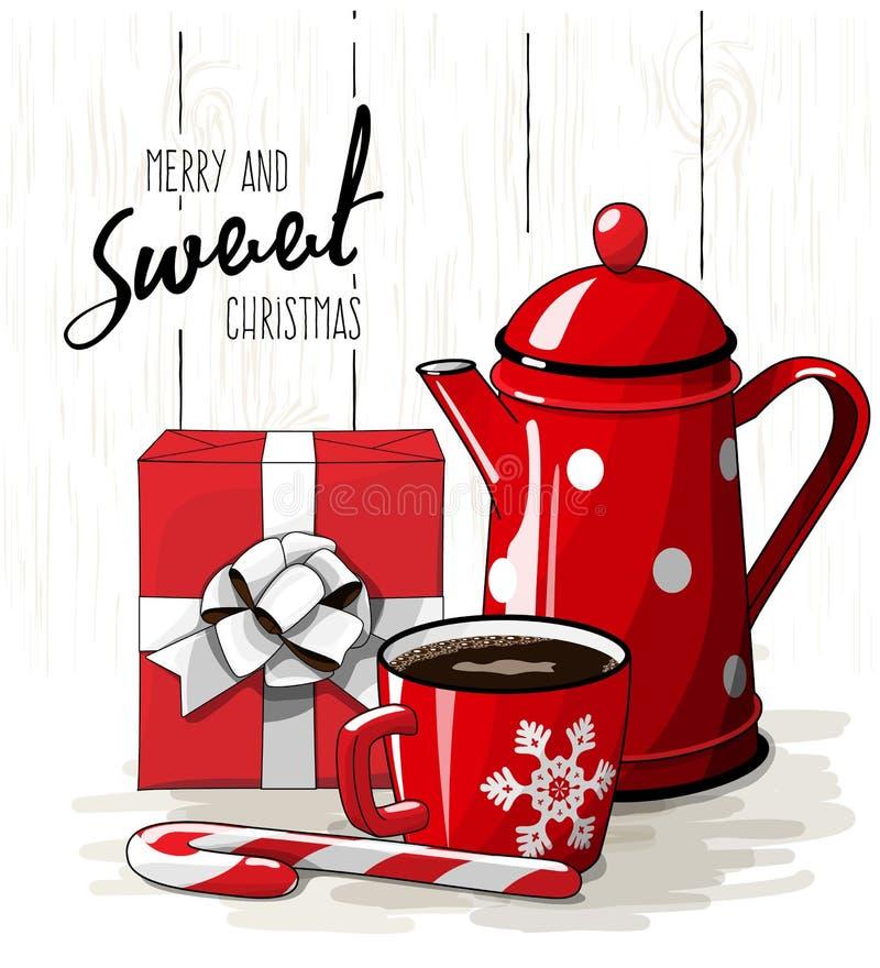 Weihnachtsstillleben, weißes Band des roten Geschenkboxesprits, roter Teetopf, Zuckerstange und Tasse Kaffee auf weißem Hintergru lizenzfreie abbildung