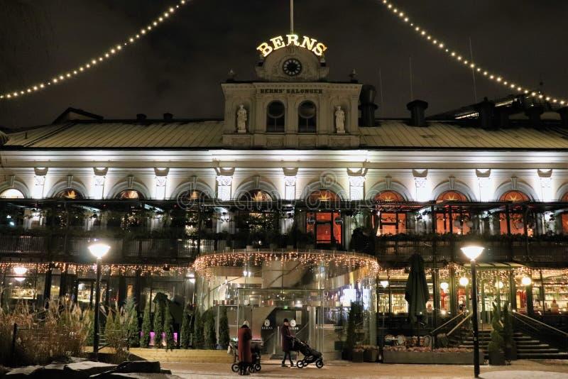 Weihnachtsstimmung an Berns Salons in Stockholm stockfotos