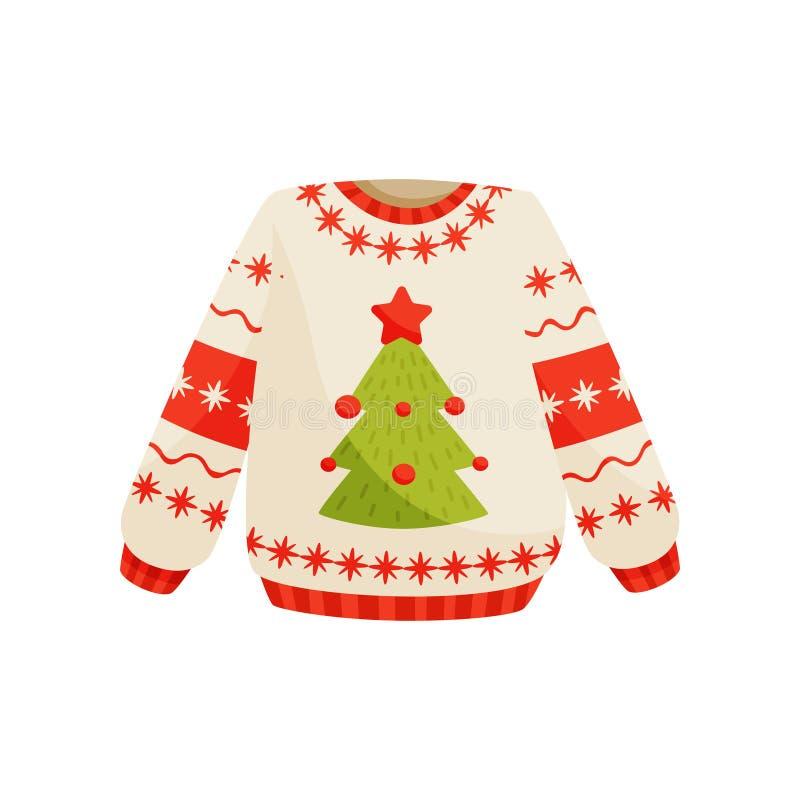 Weihnachtsstrickjacke mit netter Feiertagsverzierung, gestrickte warme Winterpullover-Vektor Illustration auf einem weißen Hinter lizenzfreie abbildung