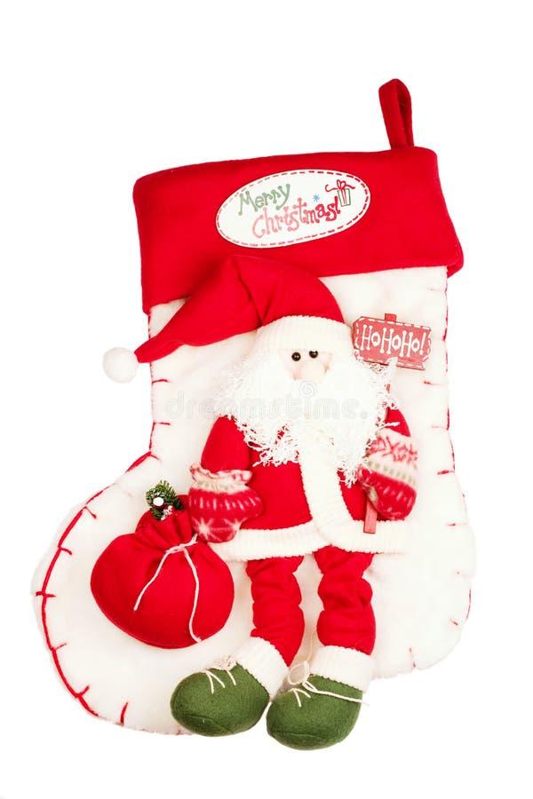 Weihnachtsstrumpf mit Sankt stockfotos