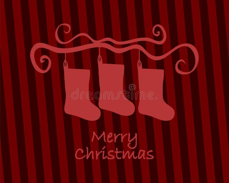 Weihnachtsstrumpf-Weinlesekarte Frohe Weihnacht-Karte Retro- Art vektor abbildung