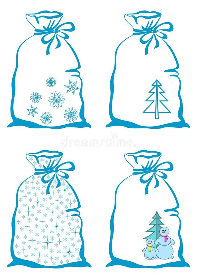 Weihnachtssymbole auf Beuteln lizenzfreie abbildung