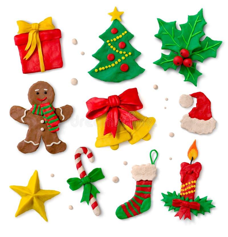 Weihnachtssymbole auf weißem Hintergrund lizenzfreie stockfotografie