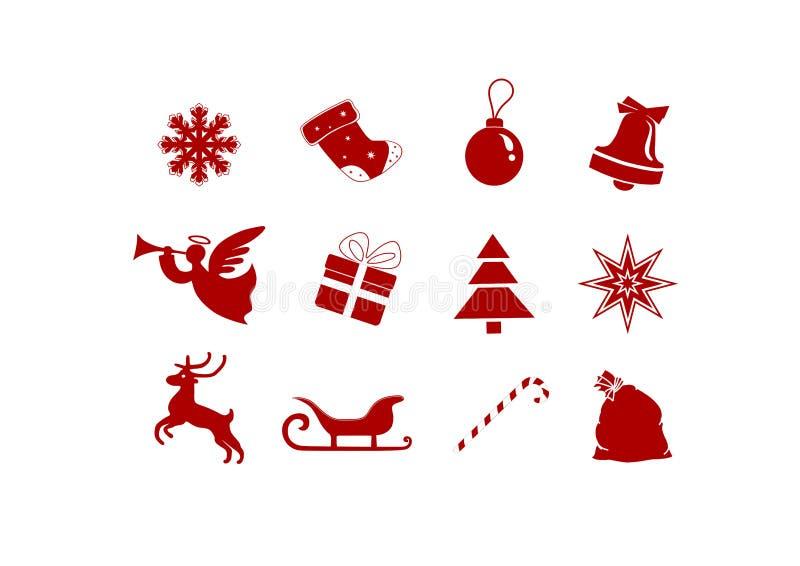 Weihnachtssymbole: Glocke, Pferdeschlitten, Stern, Geschenk - lokalisierte Bilder stock abbildung