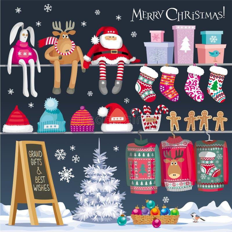 Weihnachtssymbolsatz stock abbildung
