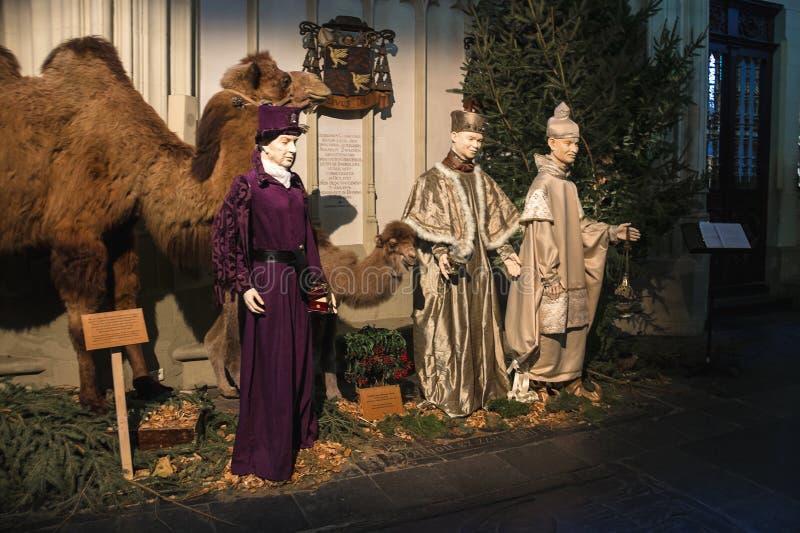 Weihnachtsszene in der Kathedrale die niederländische Stadt von Den Bosch stockbilder
