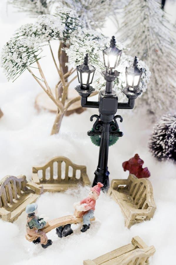 Weihnachtsszene in der Miniatur lizenzfreie stockfotos