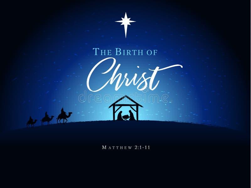 Weihnachtsszene des Babys Jesus in der Krippe mit Mary und Joseph lizenzfreie abbildung