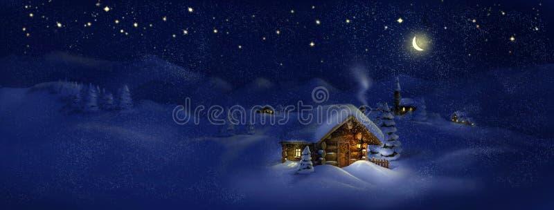 Weihnachtsszenische Panoramalandschaft - Hütten, Kirche, Schnee, Kiefer, Mond und Sterne stock abbildung