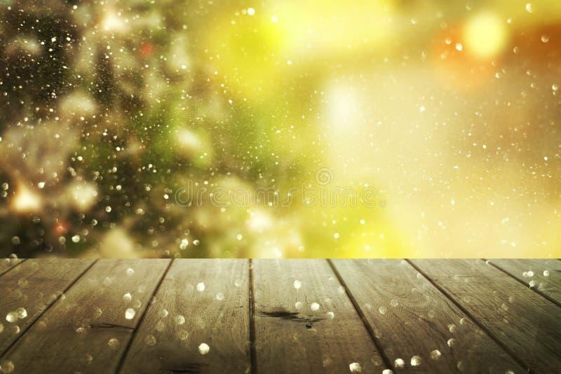 Weihnachtstabellenhintergrund Neues Jahr stockbilder