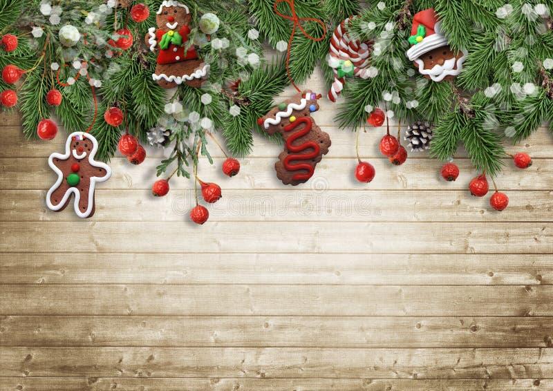 Weihnachtstannenbaum mit Plätzchen, Stechpalme und Dekoration auf hölzernem BO lizenzfreie abbildung