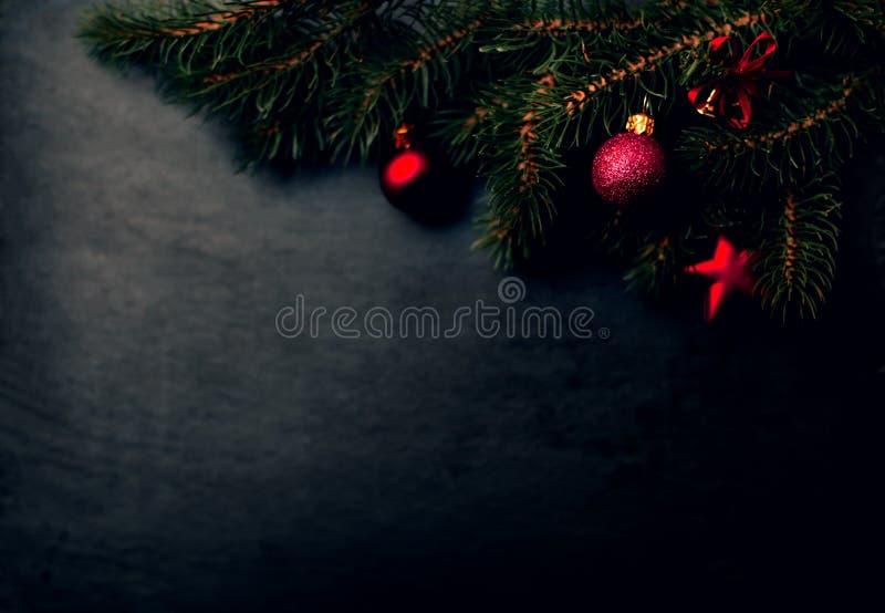 Weihnachtstannenbaumaste über dunklem Hintergrund mit Kopienraum lizenzfreie stockbilder