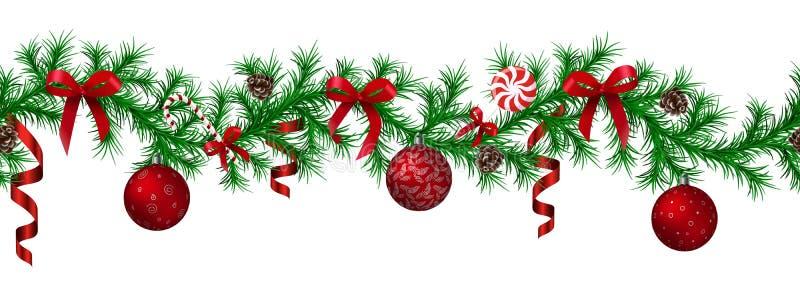 Weihnachtstannengrenze mit hängender Girlande, Tannenzweige, roter und silberner Flitter, Kiefernkegel und andere Verzierungen stock abbildung