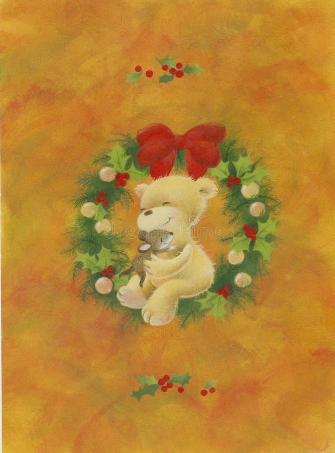 WeihnachtsTeddybär lizenzfreie abbildung