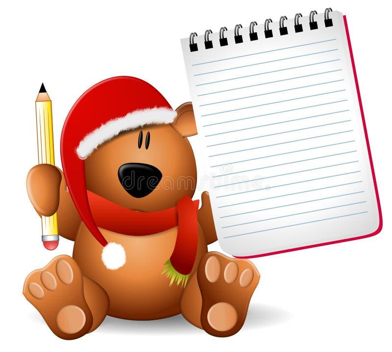 WeihnachtsTeddybär-Notizblock stock abbildung