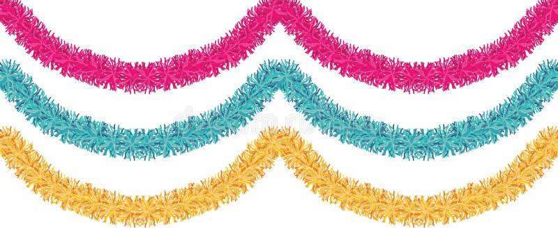 Weihnachtstraditionelle Dekorationen golden, rosa, blaues Lametta Weihnachtsbandgirlande lokalisierte das Dekorelement, das Grenz lizenzfreie abbildung