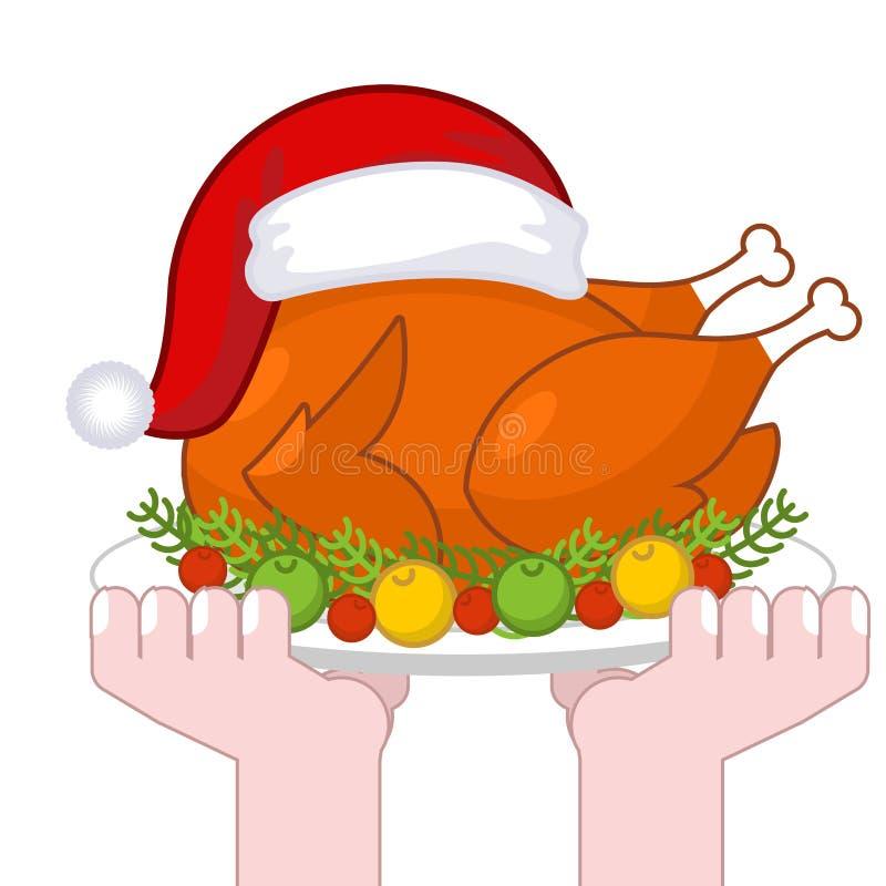 Weihnachtstruthahn in Santa Claus-Kappe Bratengeflügel auf Platte mit VE lizenzfreie abbildung