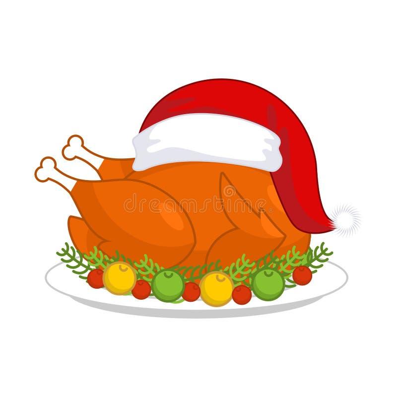 Weihnachtstruthahn in Santa Claus-Kappe Bratengeflügel auf Platte mit VE stock abbildung
