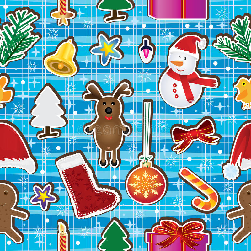 Weihnachtsunterhalt glückliches nahtloses Pattern_eps lizenzfreie abbildung