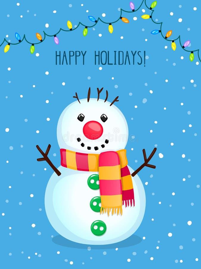 Weihnachtsvektor-Grußkarte mit nettem Schneemann und elektrischen Lichtern lizenzfreie stockfotografie