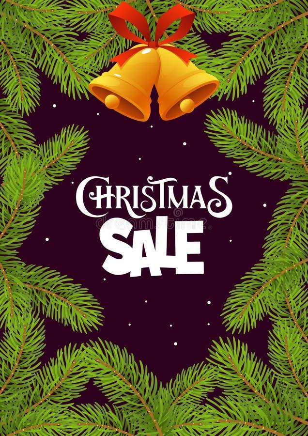 Weihnachtsverkauf mit Niederlassungen auf schwarzem Hintergrund lizenzfreie abbildung