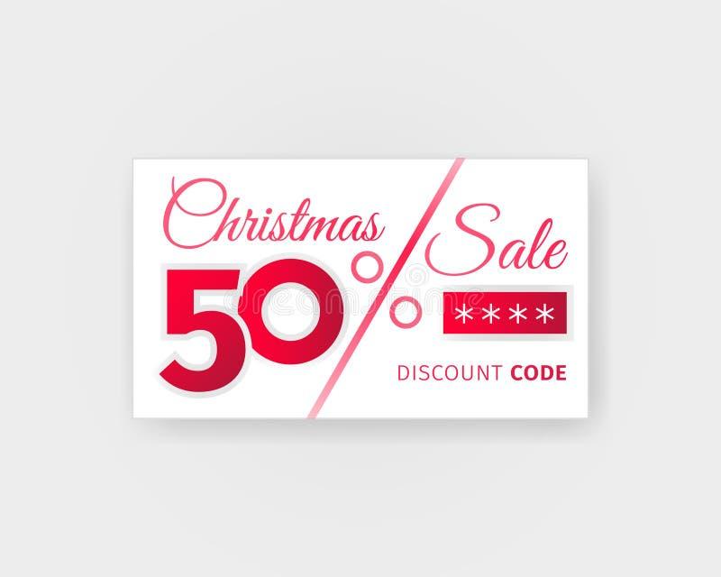 Weihnachtsverkauf 50-Prozent-Rabattkupon Verkaufskarte mit Promocode-Schablonenentwurf Realistische weiße Fahne auf hellem Hinter vektor abbildung