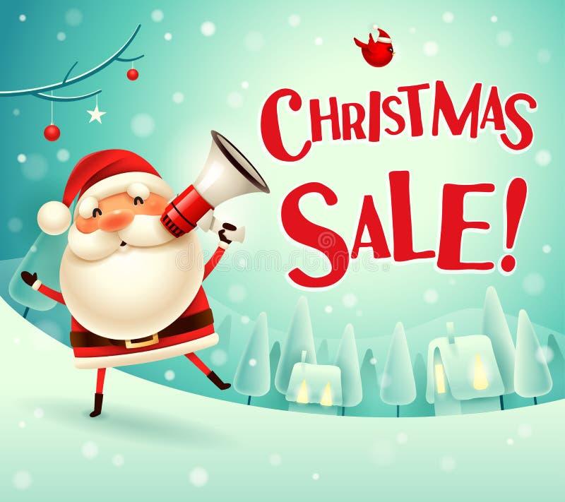 Weihnachtsverkauf! Santa Claus mit Megaphon in der Weihnachtsschneeszenen-Winterlandschaft lizenzfreie abbildung