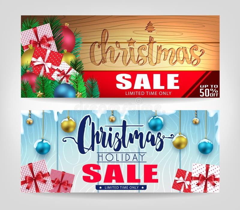 Weihnachtsverkaufs-Fahnen eingestellt mit verschiedenen Designen und hölzernem Hintergrund lizenzfreie abbildung