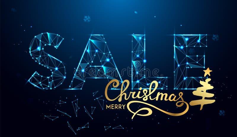 Weihnachtsverkaufs-Text für Förderung mit Dekorationen im blauen Hintergrund vektor abbildung