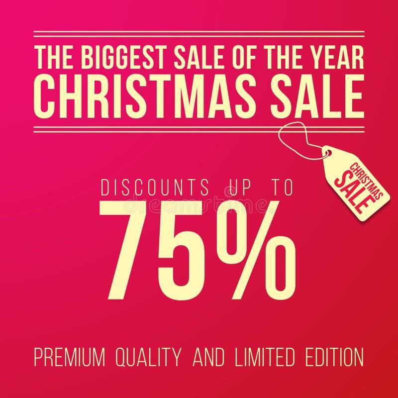 Weihnachtsverkaufsanzeige mit dem großen Rabatt entworfen vektor abbildung