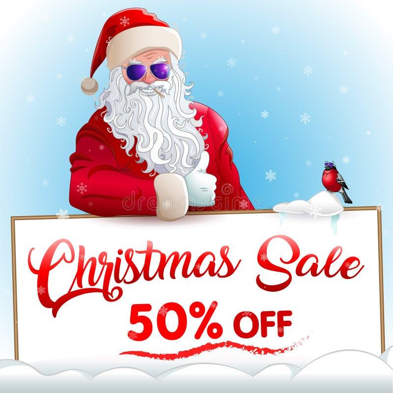 Weihnachtsverkaufseinladung mit Weihnachtsmann und Dompfaff lizenzfreie abbildung