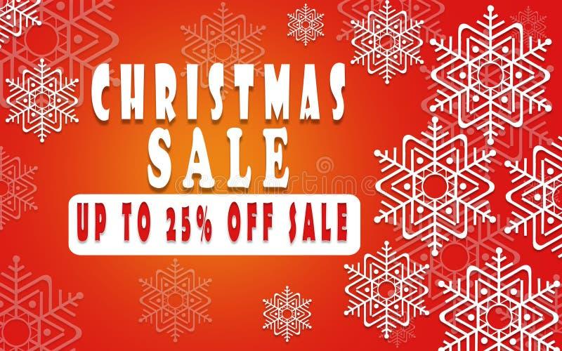 Weihnachtsverkaufsfahne für Broschüre 25%, Feiertagsflieger, Plakat, Logo, Broschüre für das Speicherschablonendesign annoncieren lizenzfreie abbildung