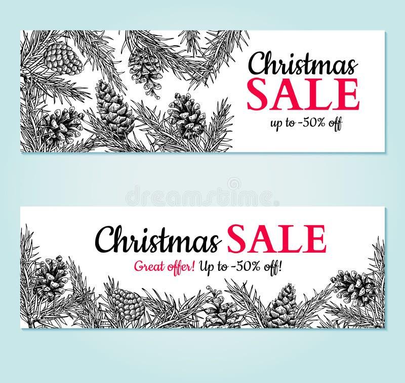 Weihnachtsverkaufsfahne Vector Hand gezeichnete Illustration mit Kiefernkegel, Immergrün, Tannenbaum stock abbildung