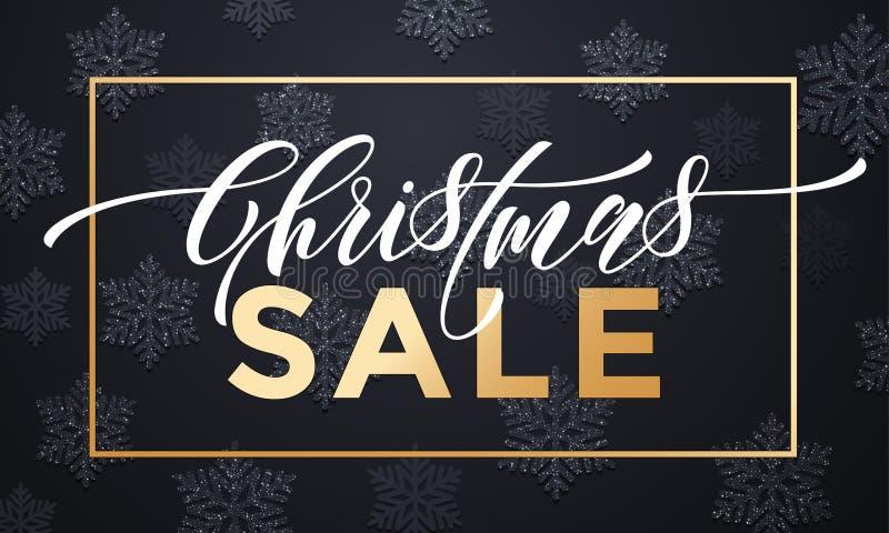 Weihnachtsverkaufsfahnen-Hintergrunddesign mit Schneeflockengoldruhm stock abbildung