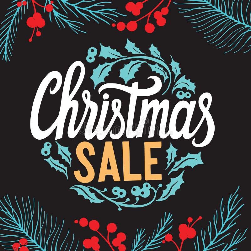 Weihnachtsverkaufshintergrund mit Feiertagsdekorationen auf einem chalkboa vektor abbildung